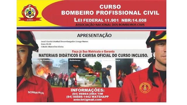 Amanhã 20/06 terá palestra sobre o curso de formação profissional em bombeiro civil, compareçam.