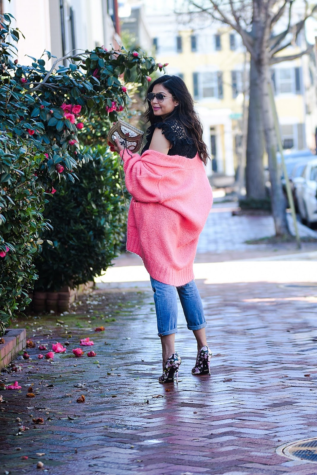 open letter to Instagram, casual style, style influencer, lace top, embellished boyfriend jeans, girlfreind jeans, floral heels, myriad musings