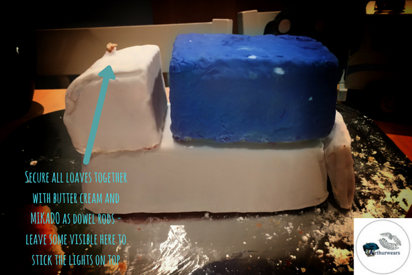 how to build the cake  to make the blue bin lorry recycling garbage truck birthday cake