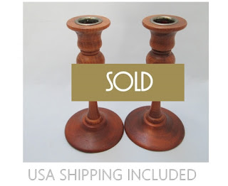 Candlesticks English Oak With Brass Cups