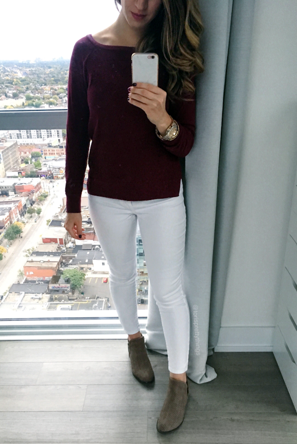 Burgundy Sweater, White Jeggings, White Jeans, Taupe Booties, Fall Everyday Outfit - Tori's Pretty Things Blog