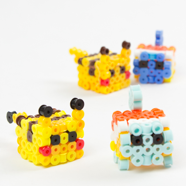 how to make 3d perler bead pokemon- pikachu and squirtle (free patterns)