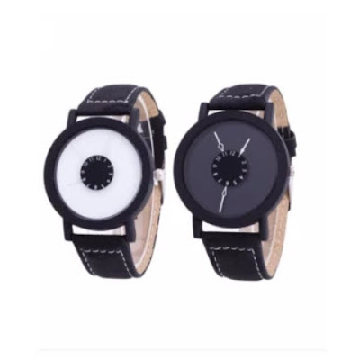 Geneva Couple Gravity Watch (Black and White)