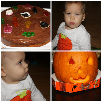 Halloween cake pumpkin and Anastasia sporting her pumpkin tshirt