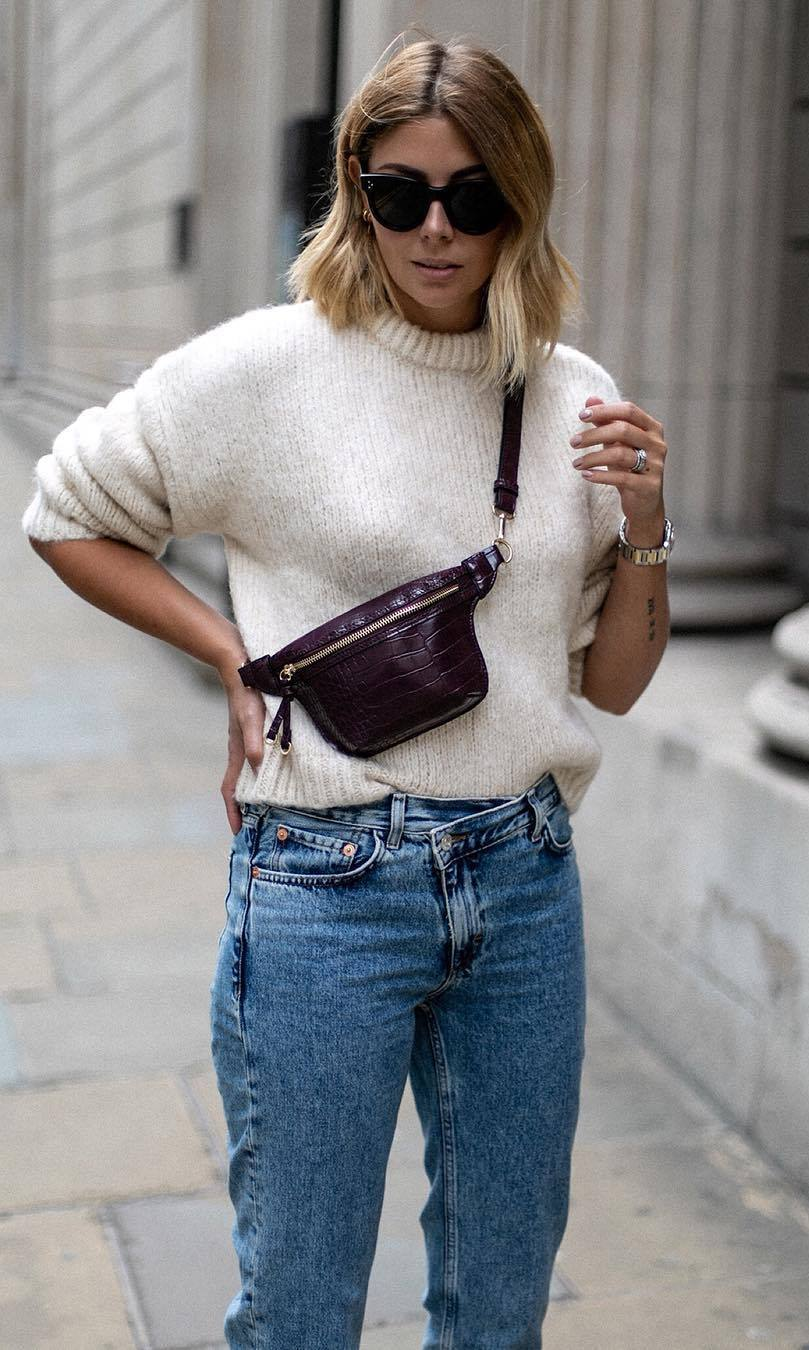 outfit of the day | white sweater + crossbody bag + jeans