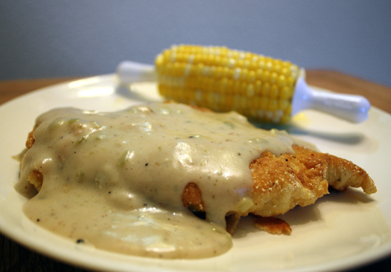 Chicken Fried Chicken with Green Chile Buttermilk Gravy (Full and Content)
