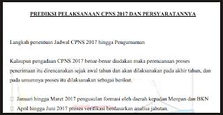 INFO PENTING! Prediksi Jadwal Pelaksanaan CPNS 2017 dan Persyaratannya