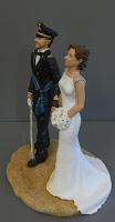 sposi torta matrimonio cake topper uniforme militare orme magiche