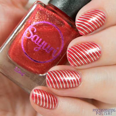Christmas striped nail art