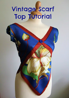 vintage scarf top tutorial by karen vallerius