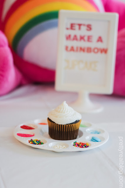 decorate a cupcake at a care bears party