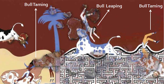 Fresco from the Thutmosid palace in the Hyksos capital of Avaris, Egypt, showing bull-leaping and bull-taming