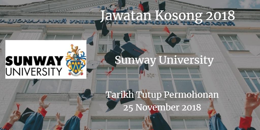 Jawatan Kosong Sunway University 25 November 2018