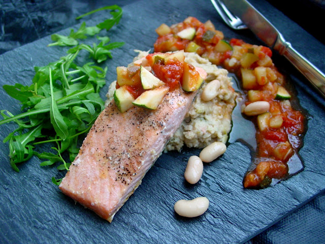 Grilled Salmon with Fennel White Bean Mash