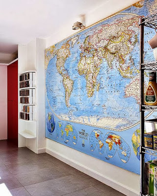 decoración con mapas, decorar paredes con mapas