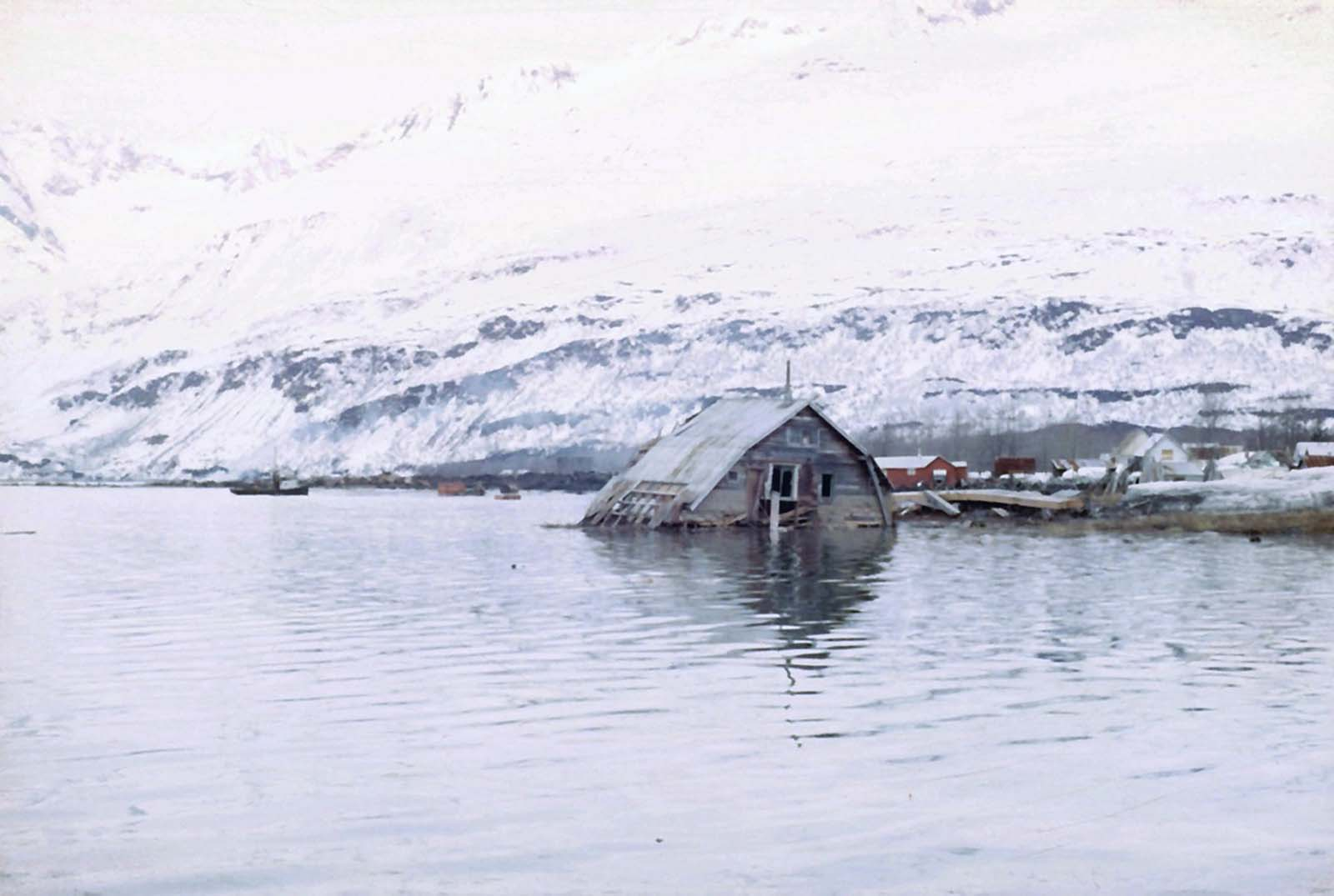 The roof of a structure dragged into an Alaskan bay after the 1964 earthquake.