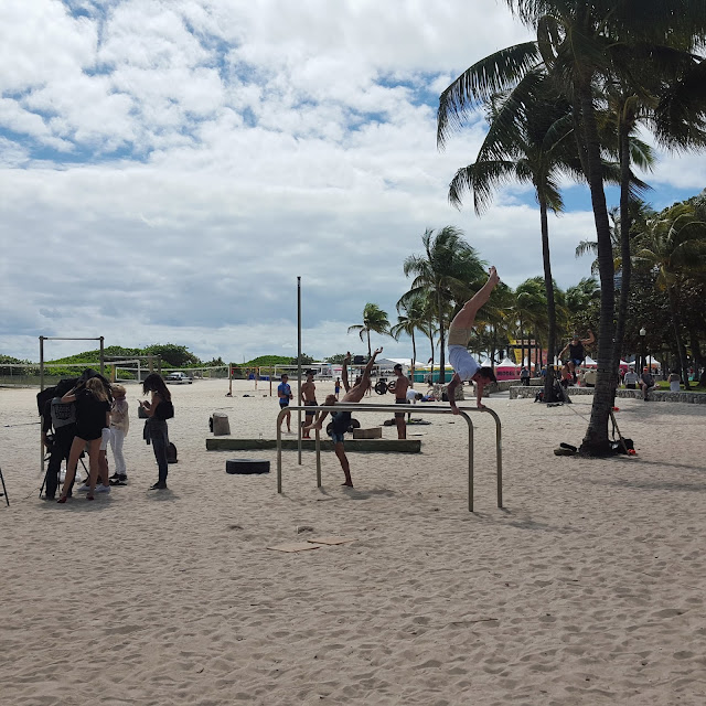 People working out on Miami Beach
