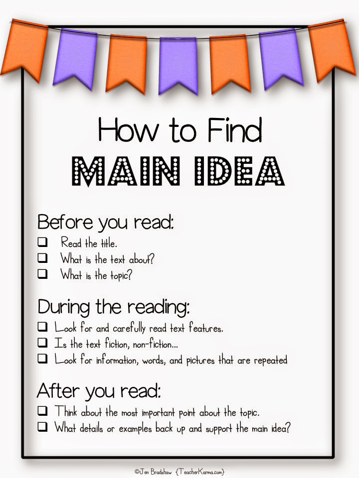 How to find the main idea.  FREE anchor charts and resources.  TeacherKarma.com
