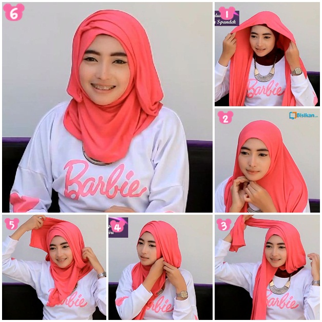 tutorial hijab modern pashmina