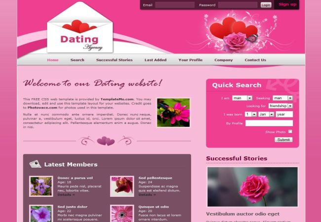 Dating Site - Website Template