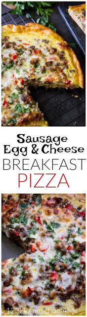 This breakfast pizza recipe is not only amazingly yummy and satisfying, but it is EASY to make too! (family favorite, breakfast recipes, egg recipes_