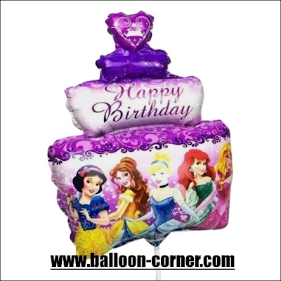 Balon Foil Happy Birthday Cake Princess Mini
