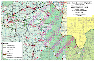 A map of the Whitewater Fire area closure in Mt. Jefferson Wilderness