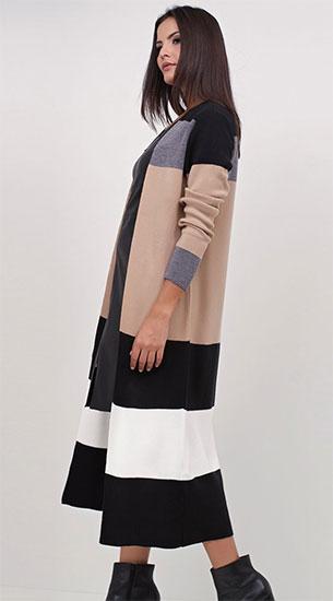 Renner inverno casaco feminino alongado listrado