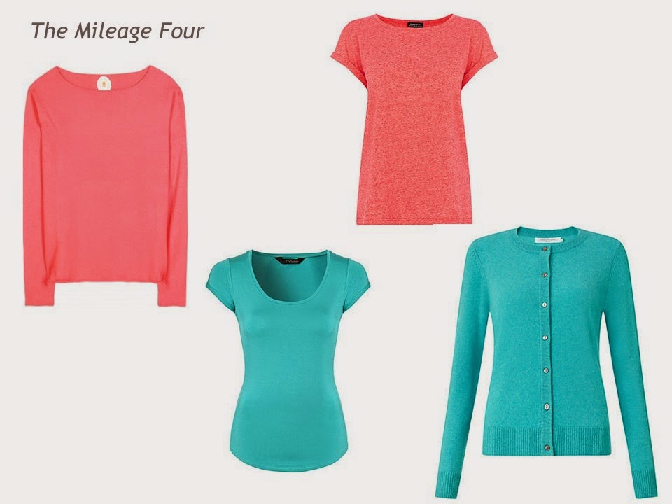 A Mileage Four with a coral sweater, a turquoise tee shirt, a coral tee shirt and a turquoise cardigan