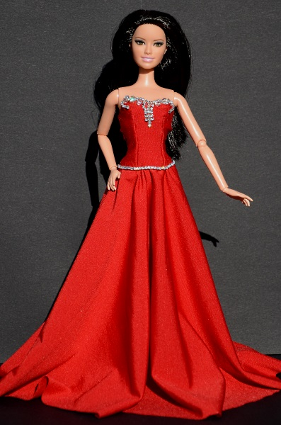 Red evening dress for doll.