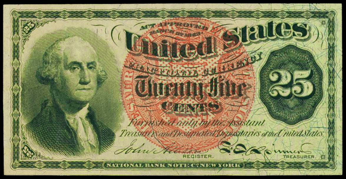 Fractional Currency 25 Cents Washington note Fourth Issue