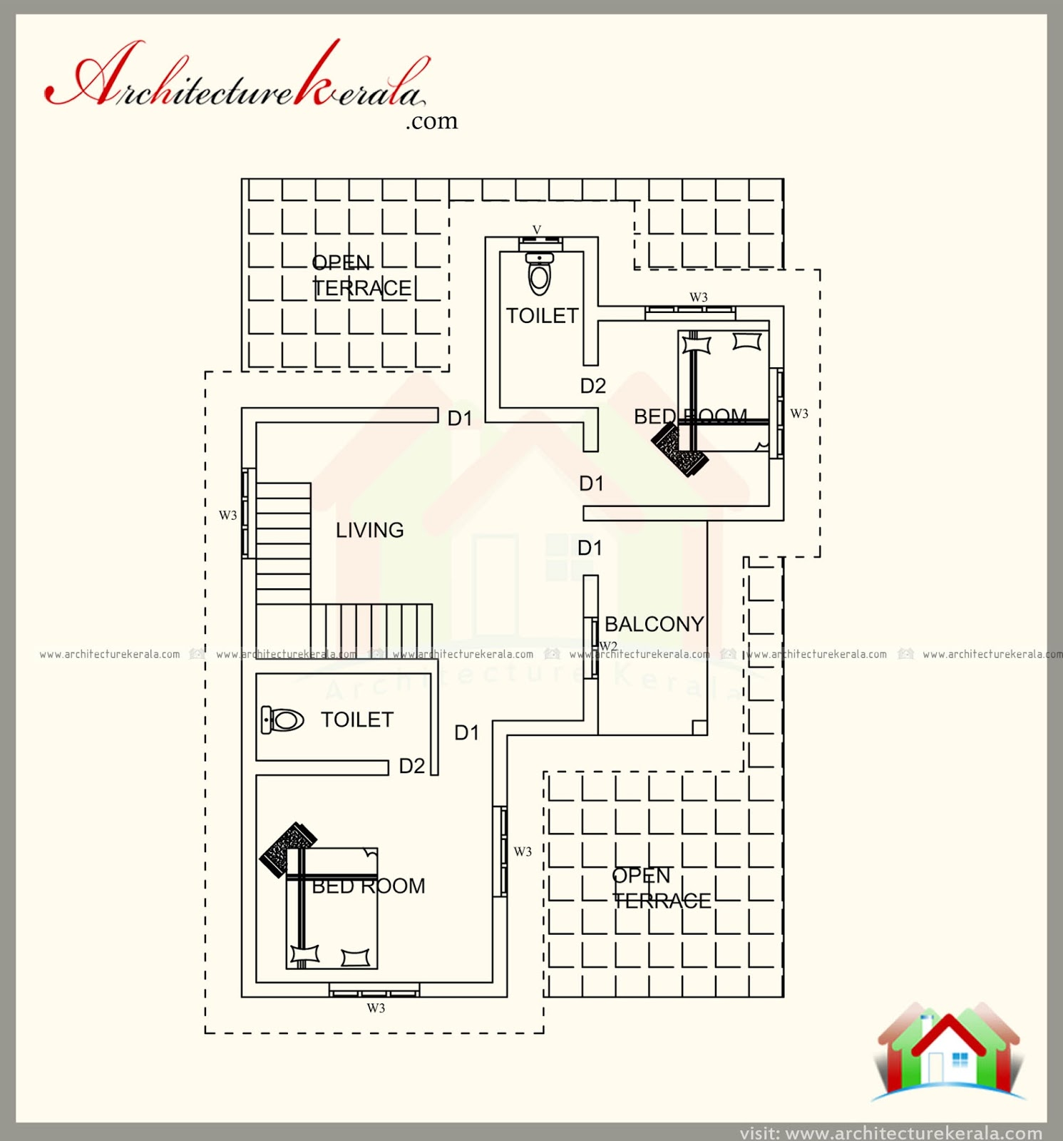 2000 square feet house plan with modern style elevation for 2000 sq ft contemporary house plans