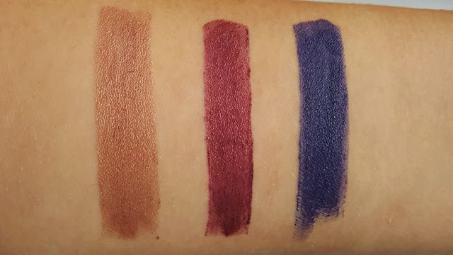 lippenstift, lipstick, essence, review, swatch, metal, shock, vibrant, color, colour, metallic, red, rosegold, blue