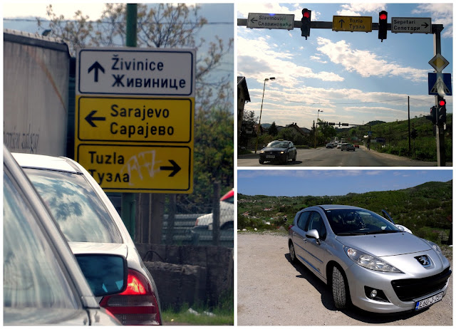 Rental Car and Tuzla road signs