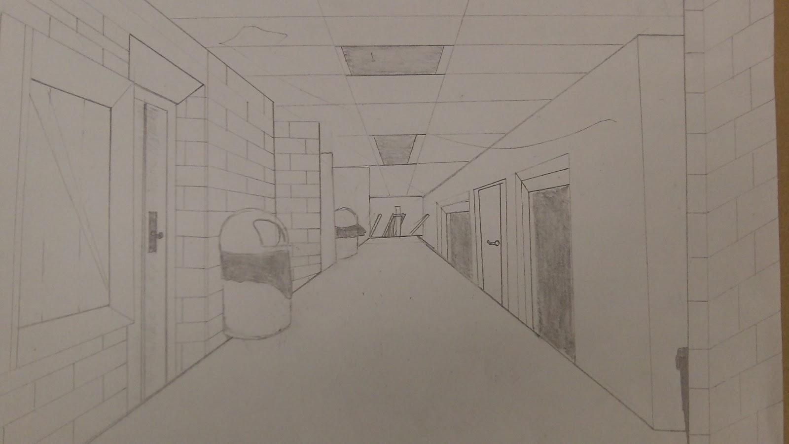 school hallway drawing - HD1600×900