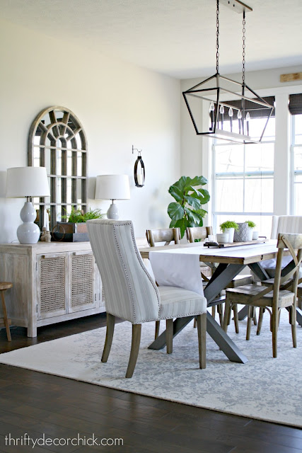 Light wood industrial dining table