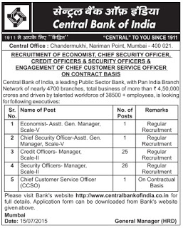 Central Bank of India Economist Recruitment 2015