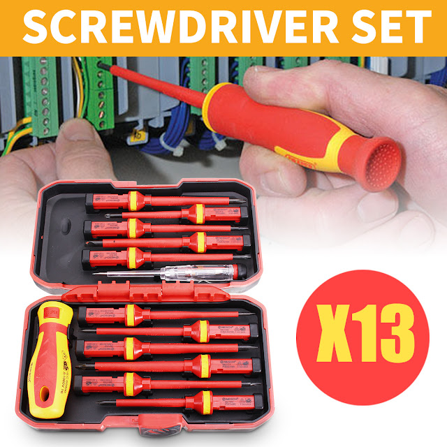 13Pcs 1000V Electronic Insulated Screwdriver Set Phillips Slotted Torx CR-V Screwdriver Repair Tools