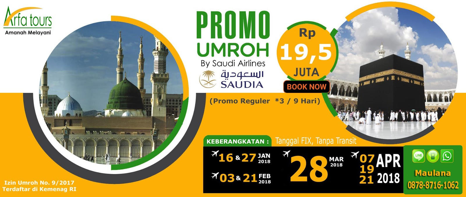Paket Umroh April 2018 Arfa Tour