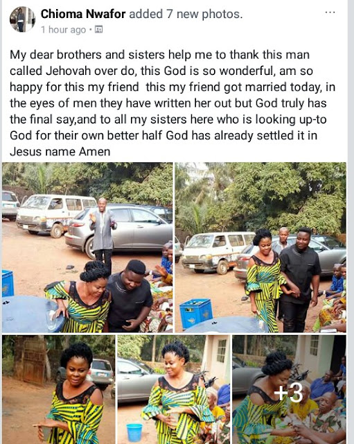 """In the eyes of men they had written her out"" - Nigerian lady shares photos of her older friend who got married yesterday"