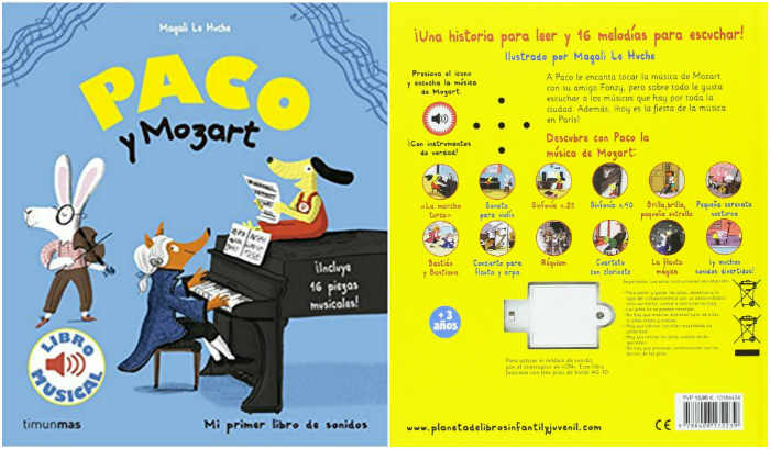 cuentos infantiles recomendados de 0 a 3 años edad paco y mozart con sonidos