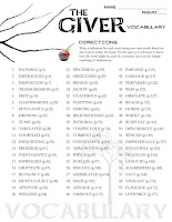 This 60-word Giver Vocabulary Word List will help students engage in the language of The Giver and understand what they're reading (includes page numbers for students to easily find the words in context of the novel).