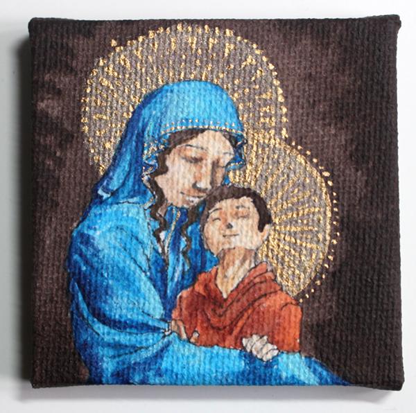 peinture vierge à l'enfant miniature - dorure