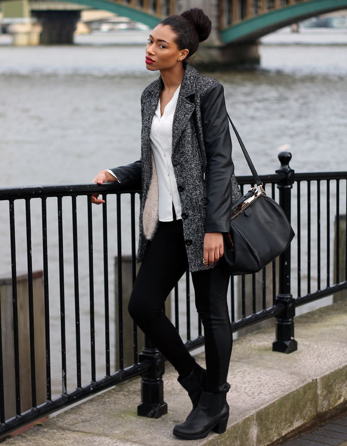Style | Topshop Leather Panelled Leggings