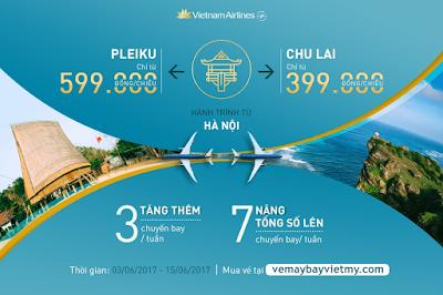 Vietnam Airlines tăng 3 chuyến/tuần trên đường bay Hà Nội - Chu Lai và Hà Nội - Pleiku