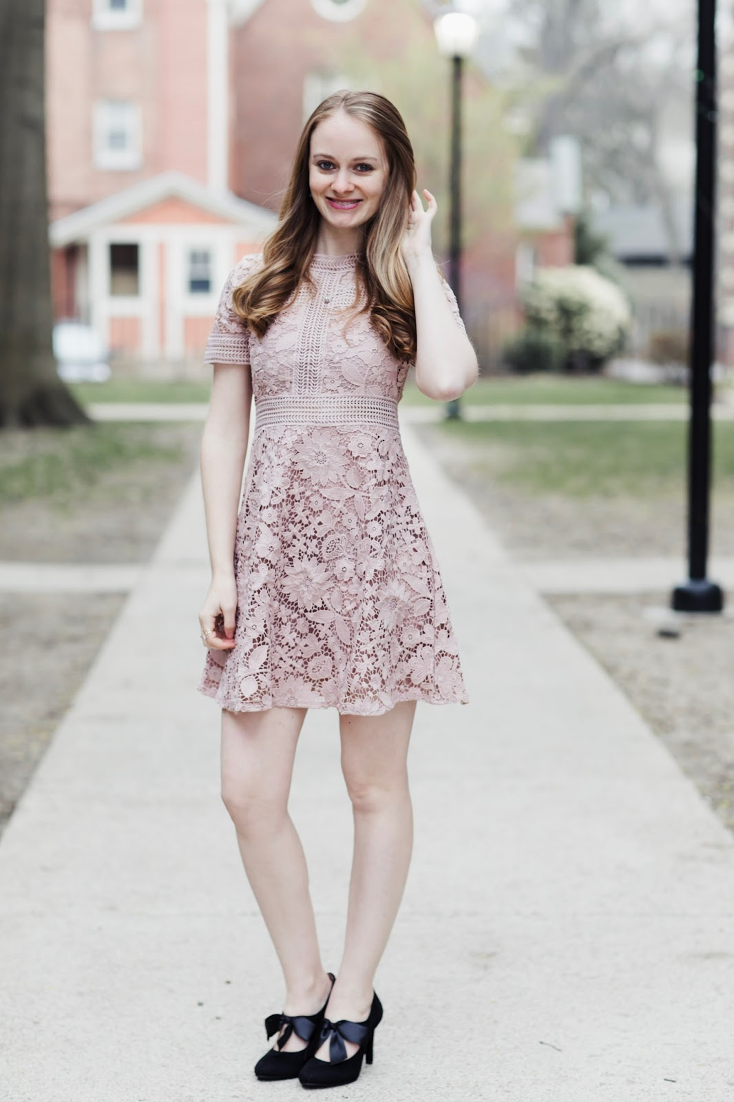 blush-lace-dress-bow-heels
