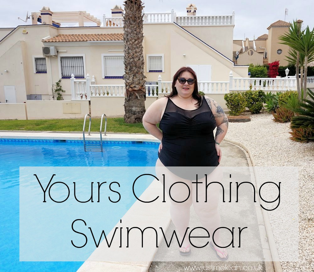Plus-size-swimwear-from-Yours-Clothing. Black-mesh-swimsuit. Black-and-white-striped-sarong