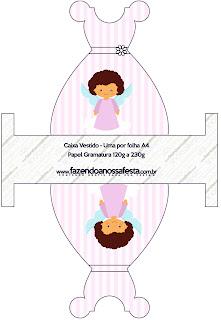 Brunette Angel Girl, Free Printable Dress Box.