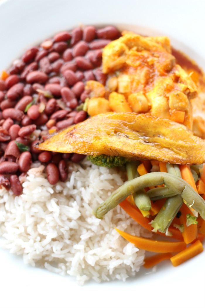 Arroz con pollo with red beans and plantains in Costa Rica
