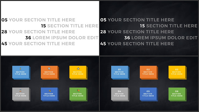 Table of Contents for Free PowerPoint Template using Typography and Flat Design